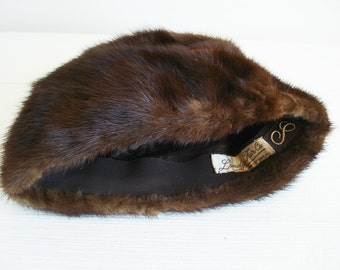 Vintage Landy Fur Co Mink Pill Box Hat