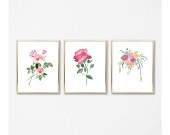 Roses Set of 3 prints - Watercolor Art Prints, still life, gift for her, botanical prints set, rose wall art print, room decor