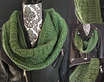 Hand Knit Green Sampler Stitch Cowl / Infinity Scarf - One of a Kind