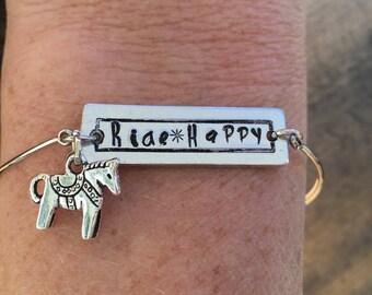 Horse Bracelet, Ride Happy, Horse Lover Gift, Gift for Equestrian