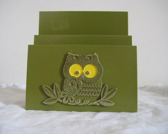 Olive Green Owl Mail/Napkin Holder