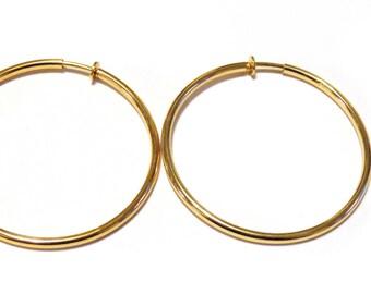 Clip-on Earrings Hoop Earrings Gold Tone Hypo-Allergenic Hoop Earrings 2.25 INCH