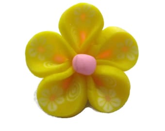 Yellow Polymer Clay Flowers 20mm Beads Set of 4