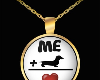 Me + doxie = love - necklace