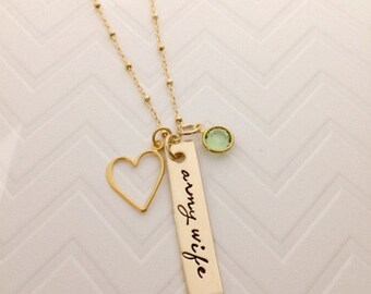 Military Wife Necklace - Personalize Army Wife Jewelry - Military Jewelry - Service Wife Jewelry - Personalized - Gold Bar Necklace