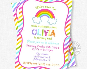 Rainbow Birthday Invitation, Over the Rainbow Invitation, Rainbow Party Invite, Colorful Invitation, Bright