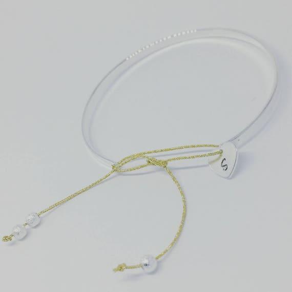 """""""Personalized heart - Bangle Bracelet personalized Bangle silver ' heart"""" with personalized engraving by Palilo"""