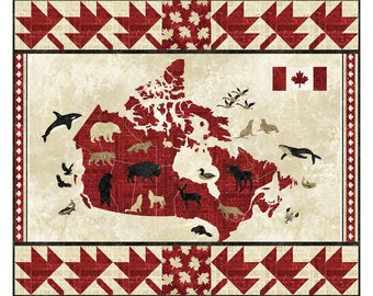 Oh Canada Quilt Pattern, 4975-2, pieced lap Quilt, panel quilt pattern, Canada lap quilt pattern, northcott oh canada