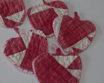 Teacher handmade Vintage cutter quilt apple teachers ornaments rose white and red thank you gift holiday  decor end of school