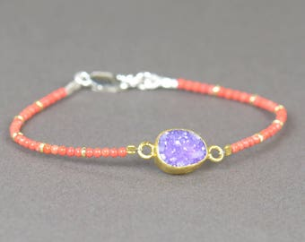 Druzy bracelet with tangerine color and vermeil beads
