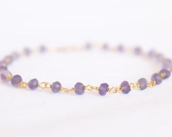 Amethyst Bracelet - Gemstone Beaded Bracelet - Stacking Bracelet - Layering Bracelet - Simple Bracelet - Purple February Birthstone - Thin