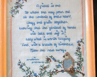 Gift For a Special Friend  Framed  Hand Made Cross Stitch Arabian Proverb Peach Frame  Bird  786