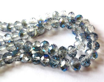 10 x Rondelles 4x3mm metallic Crystal METALLIC BLUE faceted glass beads