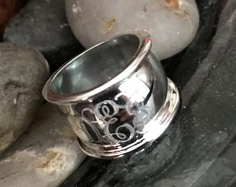 Sterling Silver Monogrammed Cigar Band Ring