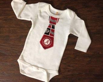 Alabama Inspired Tie One Piece Bodysuit, Baby Boy Alabama Appliqued Tie, Newborn Appliqued Tie, Select Your Size, Baby Boy Tie Tshirt