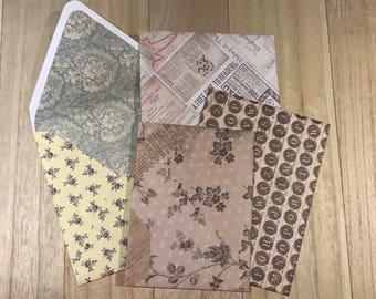Six assorted vintage lined envelopes
