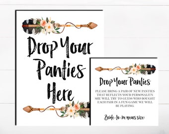 Drop Your Panties Here The Panty Game Lingerie Bachelorette Game Floral Boho Tribal Panty Guess Game Lingerie Guess Game Printable Game
