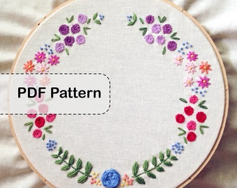 Floral Wreath Embroidery Pattern PDF