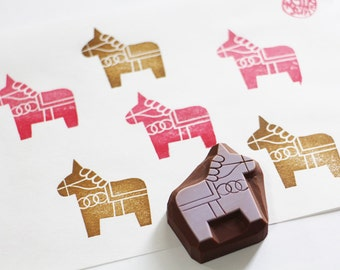 dala horse rubber stamp | woodland animal stamp | diy baby shower birthday | craft gift for kids | hand carved stamp by talktothesun