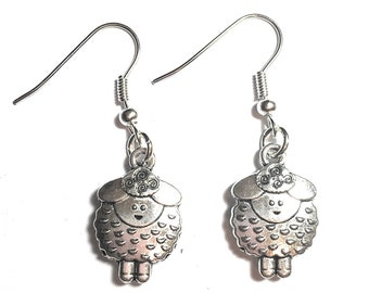 FizzyButton Gifts sheep drop earrings with silver plated ear wires in gift box