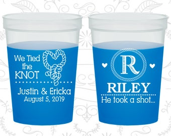 Country Wedding, Mood Cups, Monogram, He Took A Shot, Blue Mood Cups (560)