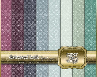 Distressed Batik Digital Paper