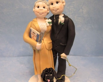 Custom Older Bride and Groom Wedding Cake Topper