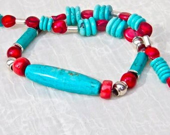 NECKLACE: Funky turquoise blue  and red coral necklace tubular turquoise centerpiece  Thai sterling beads and findings