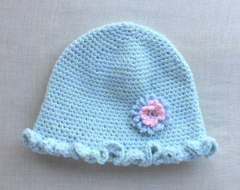 Baby Blue and Mint Green Ruffled Baby Cap