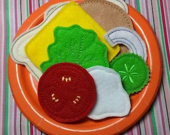 Felt Play Food - Sandwich Combo - Pretend Play - Creative Play - Compliant Toys
