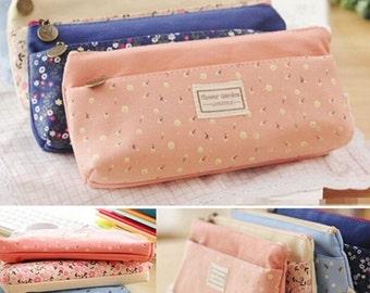 Flower Printed Pencil Pen Bag / Coin Pouch Zipper Cute Korean Bag