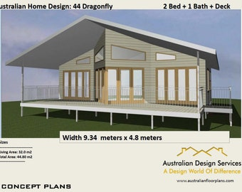 44 DragonFly  |  44m2  |  2 Bed + Study Nook home design - Concept House Plans For Sale