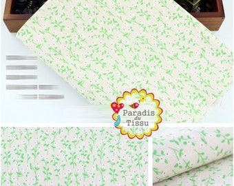 1 x coupon 50x145cm green vegetation pattern pure linen fabric