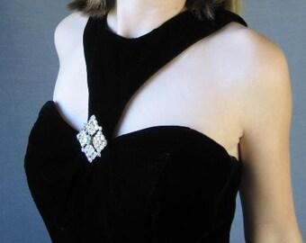 80s Vintage Black Velvet Full Skirt Mini Dress 50s Style Party Medium