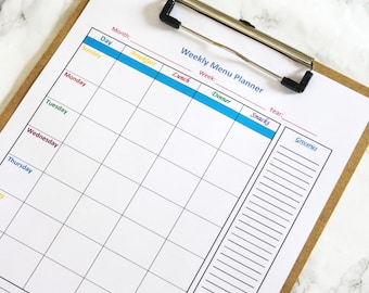 Meal Planning Printable - Weekly Menu Planner With Grocery Shopping List - Menu Planning Organization