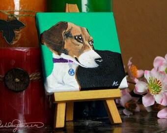 Custom 3'' mini Canvas Pet Portrait Painting