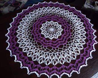 Large crochet doily handmade cotton white and purple.