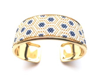 Very nice cuff, Navy, white and gold woven on rigid black Miyuki