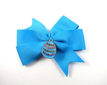 Turquoise Easter Hair Bows - Easter Hair Bow Set - Pigtail Hair Bows - Turquoise Hair Clip - Toddler Teenager Adult Hair Clip - Easter