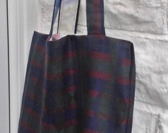 Reusable Shopping Bag, Shoulder Bag, Grocery Bag, Market Bag, Bag For Life, Green Wool Check Bag, Upcycled