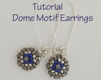 Bead Pattern, Earring Tutorial, Seed Bead Pattern, Beading Tutorial, DIY Earring Tutorial, Earring Tutorial, Dome Motif Earrings