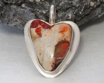 Sterling silver Boulder Opal pendant, Cantera opal, heart shaped, vintage, 13.2 grams