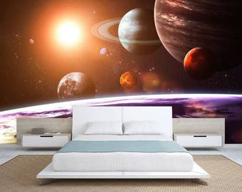 planet solar system wallpaper, solar system wall mural, galaxy wallpaper, galaxy wall decal, star wallpaper, wall mural, solar system decal