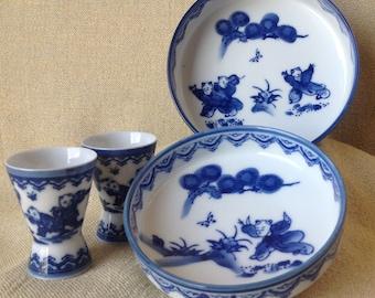 Japanese Saki and Rice Bowl Set - Vintage Saki Cups - Vintage Rice Bowls - Vintage Japanese Collectible Dishes