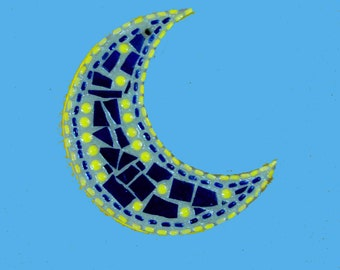 Blue Moon Mosaic Suncatcher or Ornament
