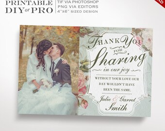 Wedding Thank You Template - Vintage Rose Wedding Photo Thank You Notes - Printable DIY French Country Wedding Editable Custom Photograph