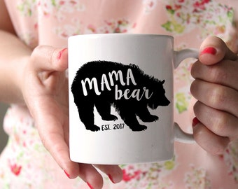 Mama Bear Mug . Christmas Mug for Mom - Gift for New Mom - Personalized Coffee Mug - Gift for mother