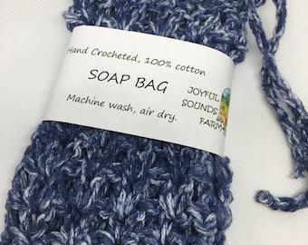 Hand Crocheted, 100% Cotton Soap Bag, Denim Blue Color
