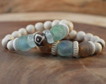2-Bracelet Set, Bohemian Jewelry, Recycled Glass, Beach Jewelry, African Trade Beads, Boho Bracelet, Wood Bead Bracelet, Aqua Blue Bracelet