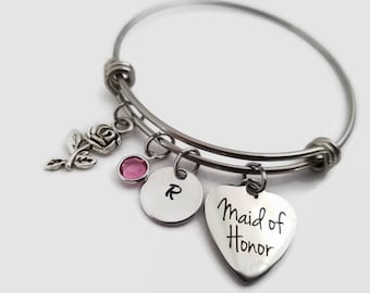 Maid of Honor bracelet - Maid of honor bangle - personalized bridal party gift - Wedding party jewelry - Maid of honor gift - bridal bangle